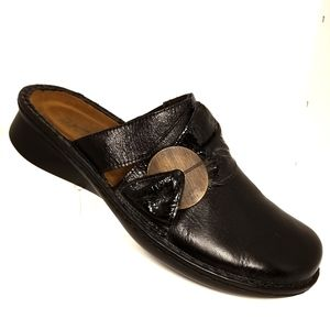 Naot black leather clogs/mules